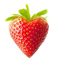 Strawberry heart shape isolated on white