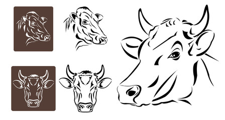 Line art of cow's head