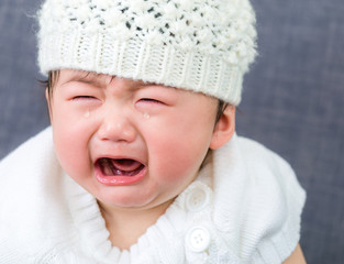 Asian baby crying