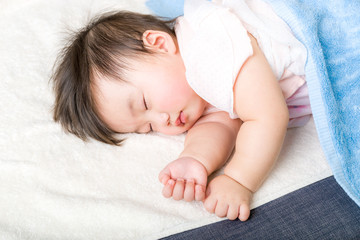 Asian baby girl fall asleep