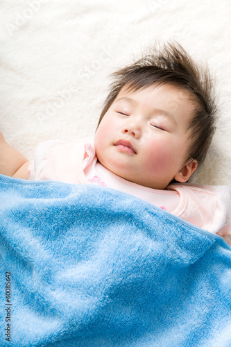 Asian baby girl sleeping