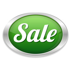 Green oval sale button with metallic border