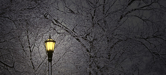 Lantern in snowing winter night