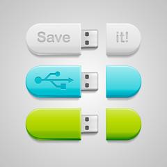 Green, blue or white usb flash storage drive.