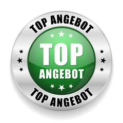 Runder Top Angebot Button in grün silber