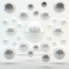 Abstract white geometric shapes from rounds