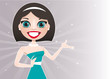vector illustration of cute brunette woman presentation
