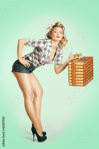 canvas print picture blonde Frau will verreisen