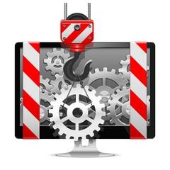 Vector Computer Repair with Crane