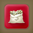 Moneybag, long shadow vector icon