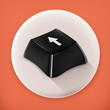 Black button, long shadow vector icon