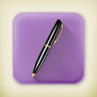 Pen, long shadow vector icon