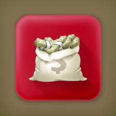 Moneybag, long shadow vector icon