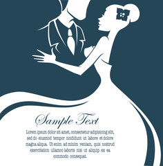 bride and groom, wedding card in elegant style