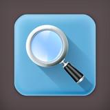 Magnifying lens, long shadow vector icon
