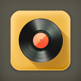 Vinyl record, long shadow vector icon