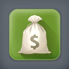 Money Bag, long shadow vector icon