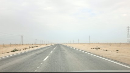 Driving throw the desert in Qatar. Middle East