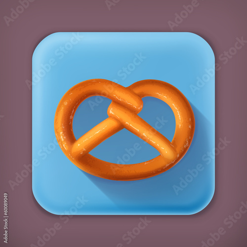 Pretzel, long shadow vector icon