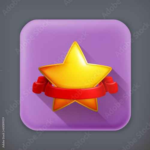 Star, long shadow vector icon