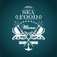 Sketch for a restaurant menu. Sea food