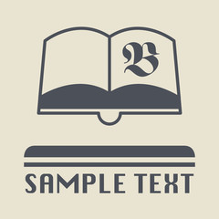 Retro book icon or sign, vector illustration