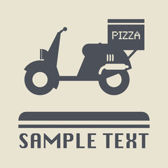 Scooter with pizza box, vector illustration