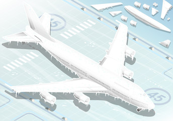 Isometric Frozen Airplane in  Front View