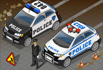 Two Isometric Police Car in Front View