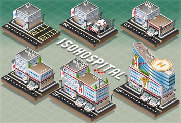 Set of Isometric Hospitals
