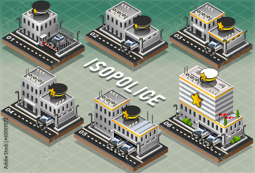 Set of Isometric Police Stations
