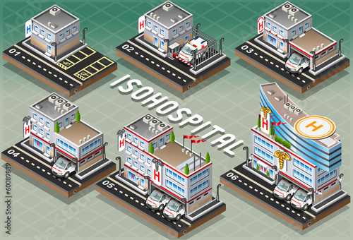 Set of Isometric Hospitals