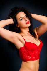 woman in red lingerie
