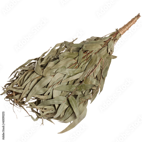 Eucalyptus broom for a bath isolated on white background