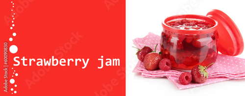 Home made berry jam isolated on white