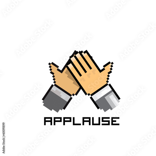 applause vector icon pixel art style. social media icon