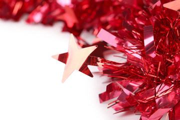 Close up of christmas red tinsel.