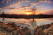 Panorama of sunrise on the river