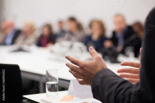 man having presentation at seminar