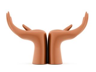 Orange hands concept rendered isolated