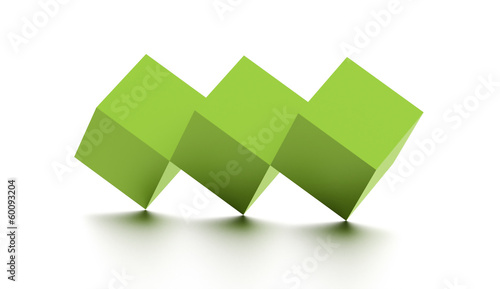 Tree green cubes rendered