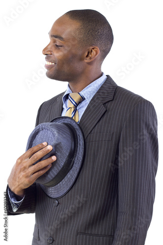 young black businessman being polite by taking hat off