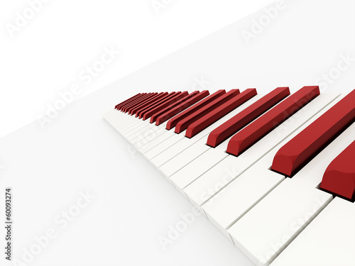 Red piano keyboard concept rendered
