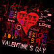 valentine's day, hearts and love, grungy style, vector