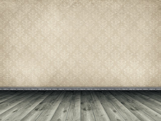Wooden floor and vintage patterned wallpaper