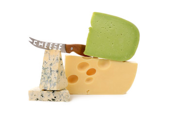 Various delicious cheese types with knife.