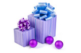 Purple gift box with christmas Balls and ribbon bow