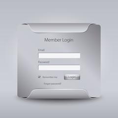 Login web window on grey background.