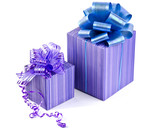 Purple gift boxes with ribbon bows
