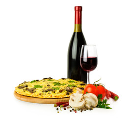 mushroom pizza with wine and ingredients